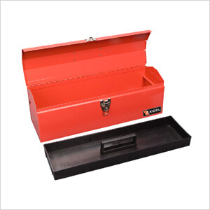19-Inch Portable Metal Toolbox (Red)