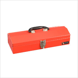 16-Inch Portable Metal Toolbox (Red)