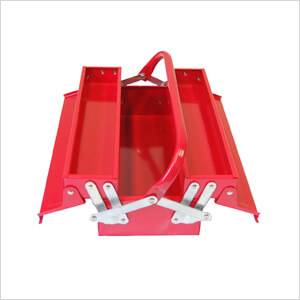 3-Tray Cantilever Metal Toolbox (Red)