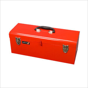 19-Inch Metal Toolbox with Tray (Red)