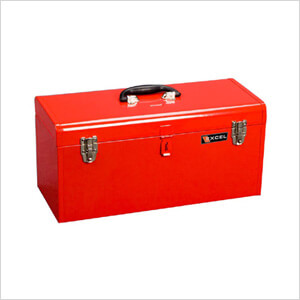 20-Inch Metal Toolbox with Tray (Red)