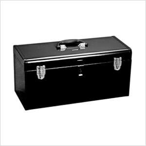 20-Inch Metal Toolbox with Tray (Black)