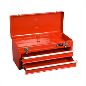 2-Drawer Portable Metal Toolbox (Red)