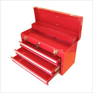 3-Drawer Portable Metal Toolbox (Red)