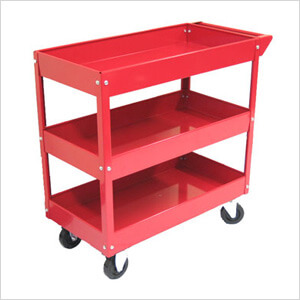 3-Tray Rolling Metal Tool Cart (Red)