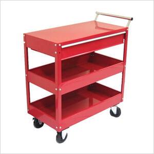 2-Tray 1-Drawer Rolling Metal Tool Cart