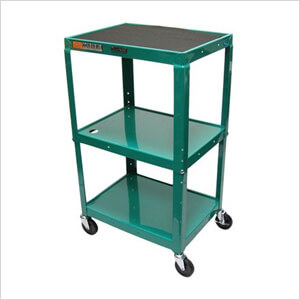 Height Adjustable Green A/V Cart