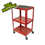 Luxor Height Adjustable Red A/V Cart