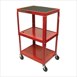 Height Adjustable Red A/V Cart