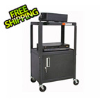 Luxor Black A/V Cart with Lockable Cabinet