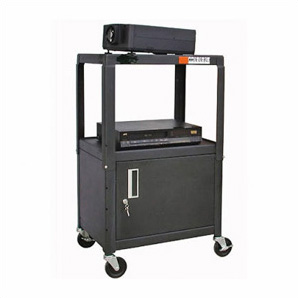Black A/v Cart With Lockable Cabinet