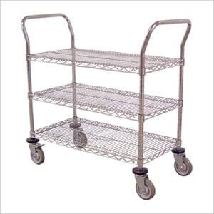 "36"" 3-Shelf Chrome Wire Cart"