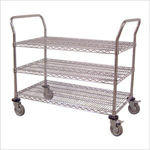 "42"" 3-Shelf Chrome Wire Cart"