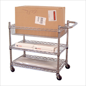 Large 3-Shelf Chrome Wire Cart