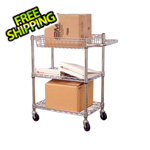 Luxor Small 3-Shelf Chrome Wire Cart