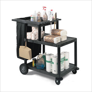 3-Shelf Janitorial Cart & Nylon Trash Bag