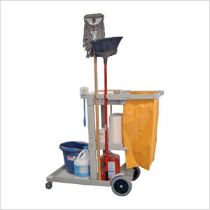 Cleaning Service Cart with Nylon Trash Bag