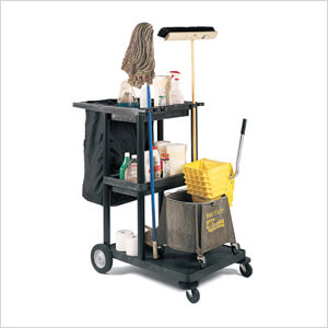 Janitor Cart with Nylon Trash Bag