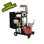 Luxor 4-Shelf Janitorial Cart & Nylon Trash Bag