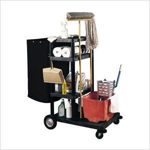 4-Shelf Janitorial Cart & Nylon Trash Bag