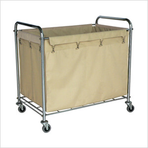 Industrial Laundry Cart with Canvas Bag