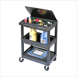 3-Shelf Utility Cart with Lid