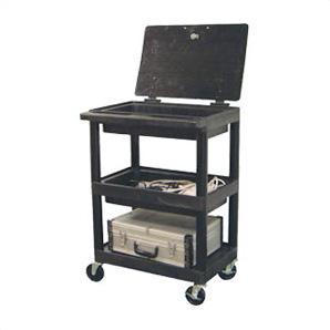 3-shelf Utility Cart With Locking Lid