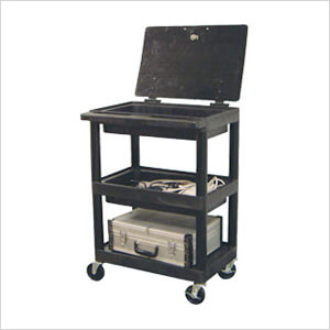 3-Shelf Utility Cart with Locking Lid