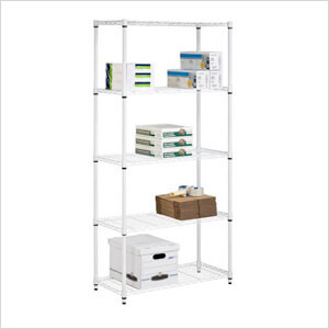 "White 5-Tier 72"" Commercial Shelving Unit"