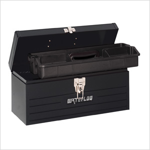 "16"" Metal Tool Box with Plastic Tote"