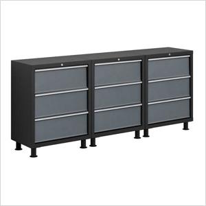 3 x 24-Gauge Grey 3-Drawer Base Cabinets & Coleman 77303 | Grey Garage Drawers | Coleman Base Cabinet