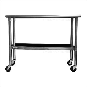 "48"" NSF Stainless Steel Table with Wheels"