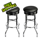 Trinity Chrome Swivel Barstool (Assembled 2-Pack)