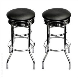 Chrome Swivel Barstool (Assembled 2-Pack)