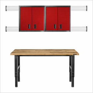 8-Piece Red Premier Garage Cabinet Set