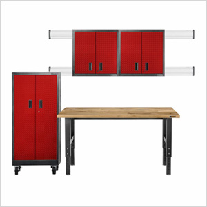 9-Piece Red Premier Garage Cabinet Set
