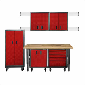 11-Piece Red Premier Garage Cabinet Set