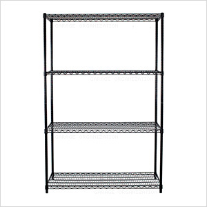 NSF 4-Tier Black Wire Shelving Rack
