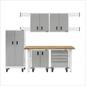 11-Piece White Garage Cabinet System