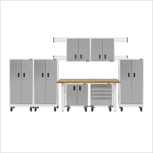 13-Piece White Garage Cabinet Set
