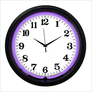 15-Inch Standard Purple Neon Clock