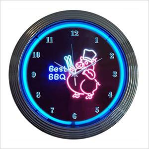 15-Inch BBQ Pig Neon Clock