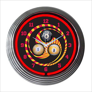 15-Inch Billiards 1, 8, 9 Neon Clock
