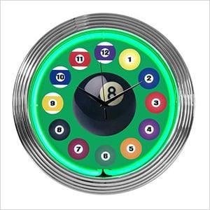 15-Inch Billiard Ball Green Neon Clock