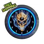 Neonetics 15-Inch 8 Ball Skull Neon Clock
