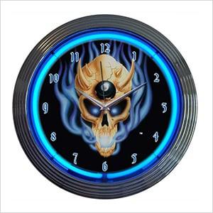 15-Inch 8 Ball Skull Neon Clock