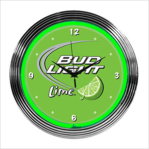 15-Inch Bud Light Lime Neon Clock