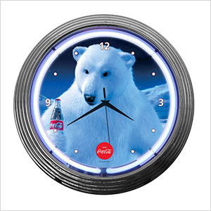 15-Inch Coca-Cola Polar Bear Neon Clock