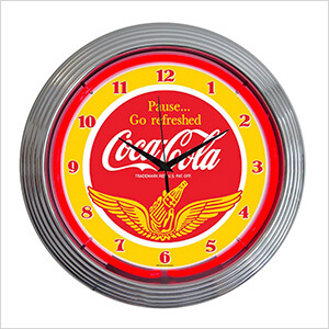 15-Inch Coca-Cola Wings Neon Clock