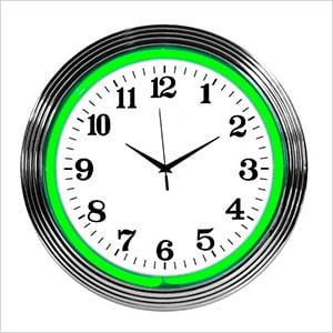 15-Inch Standard Green Neon Clock